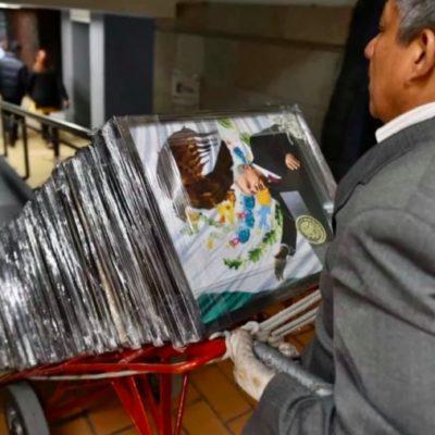 Reciben diputados de Morena un regalo inesperado: ¡cuadros con la imagen del Presidente!