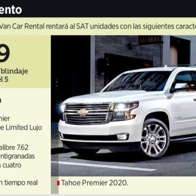 ESTRENARÁ SAT FLOTA BLINDADA: Adjudica gobierno de AMLO contrato por 277 mdp para rentar durante cuatro años 79 camionetas SUV con el nivel más alto de protección