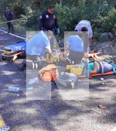 OTRO CARRETERAZO, AHORA EN LA ZONA MAYA DE TULUM: Dos muertos y dos heridos por volcadura en el camino Cobá-Chanchen