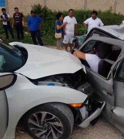 Una mujer muerta y seis personas heridas en fuerte accidente en la salida de Cancún hacia Mérida