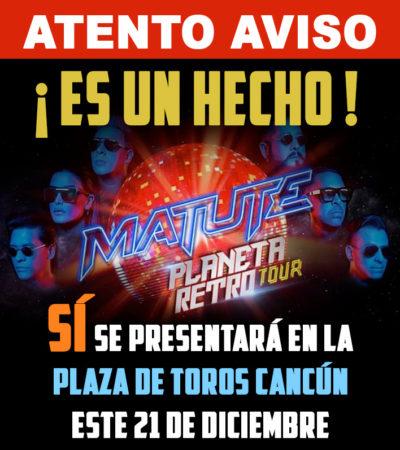 Concierto de Matute en la Plaza de Toros de Cancún continúa en pie, afirman organizadores