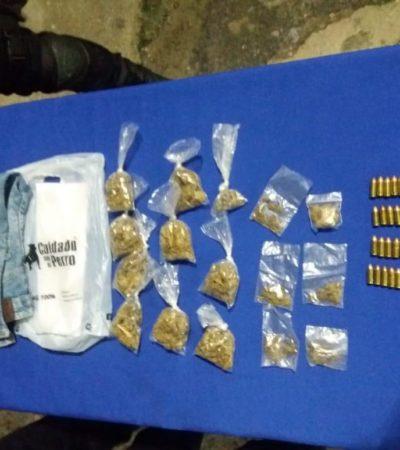 Detienen a dos sujetos con 16 dosis de droga y 20 cartuchos útiles en la Sm 233 de Cancún