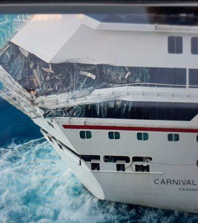 CHOCAN CRUCEROS EN COZUMEL: Incidente en el muelle Puerta Maya durante maniobras de atraque de dos gigantes del mar