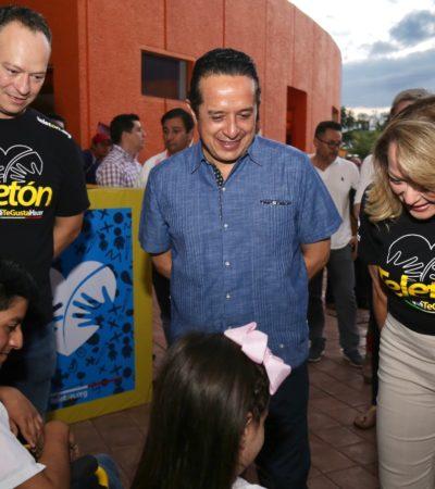 ENTREGA GOBERNADOR DONATIVO AL TELETÓN: Respaldan recaudación de fondos durante kermés de CRIT en Cancún