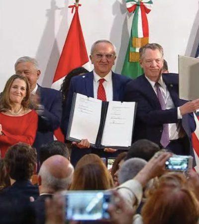 Firman México, EU y Canadá protocolo modificatorio del T-MEC en Palacio Nacional