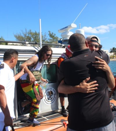 Rescata Marina a cuatro personas cerca de Cozumel