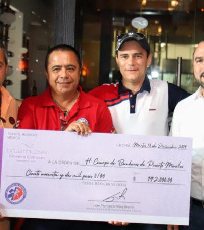 Donan 192 mil pesos para la compra de equipos de respiración autónoma del H. Cuerpo de Bomberos de Puerto Morelos
