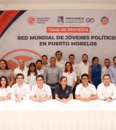 Toman protesta directivos de la Red Mundial de Jóvenes Políticos de Puerto Morelos