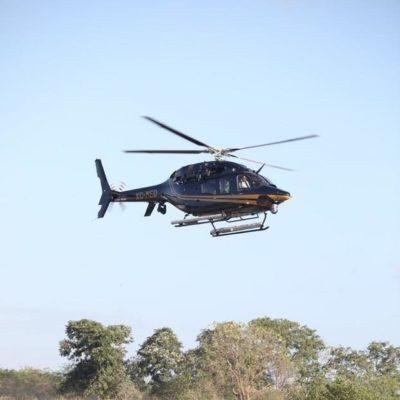 Refuerza Yucatán con helicóptero vigilancia en frontera con Quintana Roo