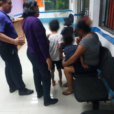 Policía de Cancún apoya a una mujer y sus hijos víctimas de violencia familiar