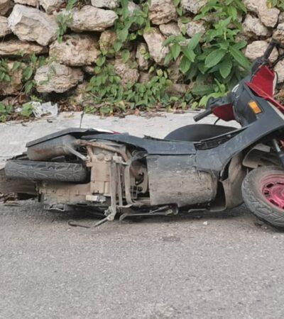 Motociclista grave, luego de ser arrollado en José María Morelos