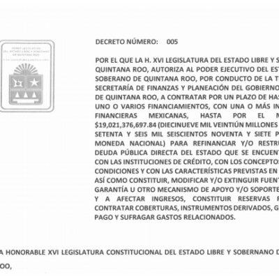 Publican autorización para refinanciamiento de la deuda pública de QR