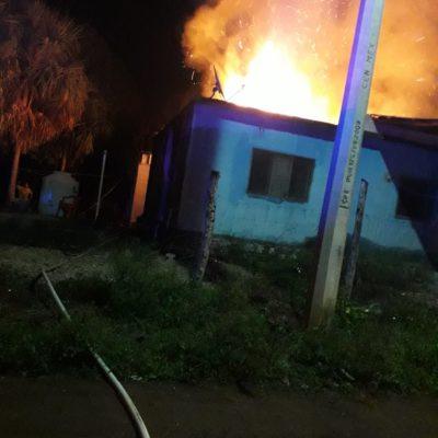 Arde una choza en Kantunilkín, por fuga de gas