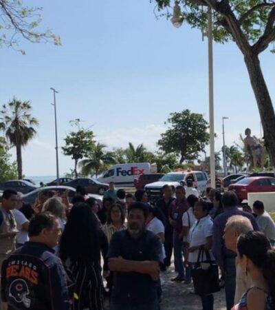 Evacuan Palacio de Gobierno en Chetumal por percepción de sismo de 7.3 grados originado en el Caribe esta tarde