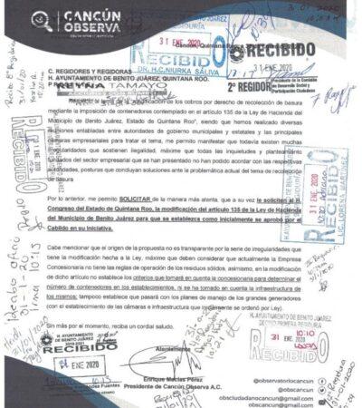 Asociación Cancún Observa envía solicitud al Cabildo de BJ para que diputados reviertan renta de contenedores para basura