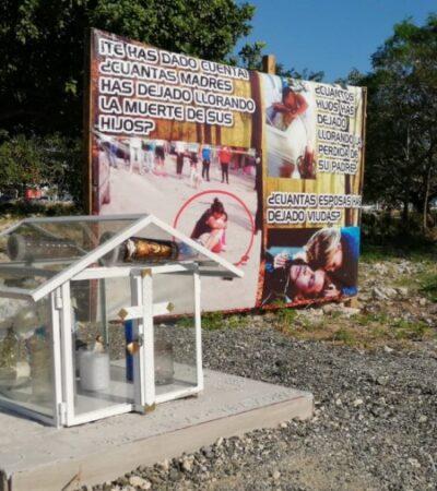 Familiares de joven ejecutado en Cancún reclaman su muerte con lona instalada en la avenida Chac Mool