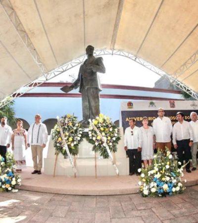 Asiste Víctor Mas al XCVI aniversario luctuoso de Felipe Carrillo Puerto
