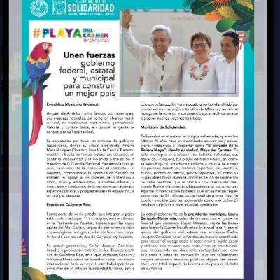 PIERDE ALCALDESA LA BRÚJULA EN LA FITUR: Reparte Laura Beristain folleto en Feria Turística de Madrid sobre combate a la corrupción de la 4T con foto con AMLO y el Gobernador