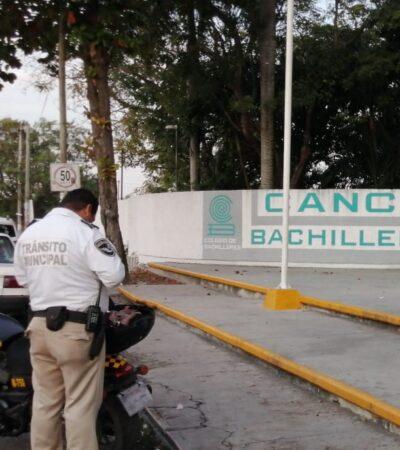 Activan protocolos de seguridad por falsa alarma de balacera en un plantel de Bachilleres en Cancún