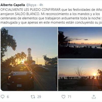 CAPELLA REPORTA SALDO BLANCO DURANTE FESTEJOS DE AÑO NUEVO: En sus redes sociales, el jefe de la policía de QR envió un mensaje desde la Zona Hotelera de Cancún