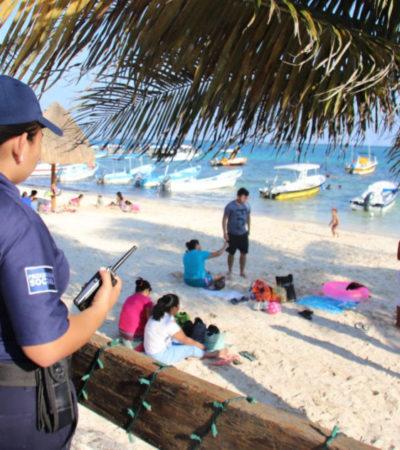 Refuerzan protección y atención a turistas durante días de asueto en Puerto Morelos