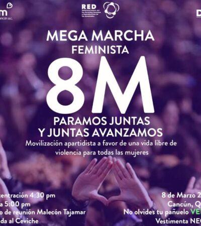 Colectivos feministas preparan marcha a favor de una vida libre de violencia para la mujeres en Cancún