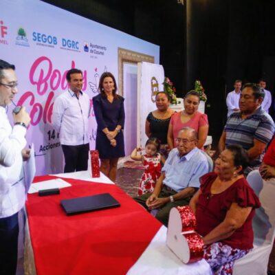 SE PONEN LA 'SOGA' 56 PAREJAS EN COZUMEL: Encabeza Pedro Joaquín la ceremonia de las bodas colectivas