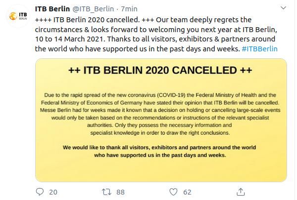 Por coronavirus, cancelan Feria Internacional de Turismo de Berlín; primera vez en 54 años