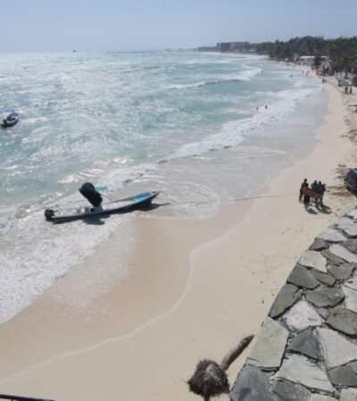 Atiende Protección Civil reporte por hundimiento de lancha debido a alto oleaje en Playa del Carmen