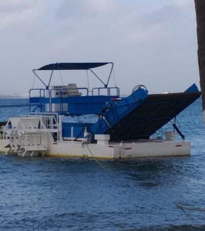 Lista la primera embarcación sargacera con capacidad de recolectar 80 toneladas de alga al día, anuncia SEMA