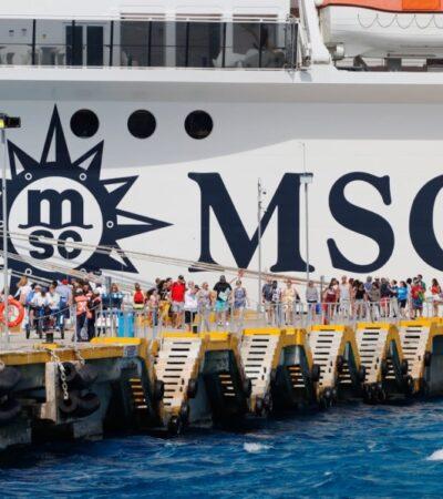 Crisis en Cozumel por arribo del crucero MSC Meraviglia finaliza con desembarque de tripulación