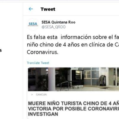 Desmiente Secretaría de Salud de QR muerte de menor en Cancún por Coronavirus