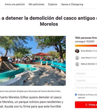 Recolectan cerca de 8 mil firmas en Change.org en contra de la remodelación del casco antiguo de Puerto Morelos