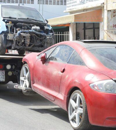 SEGUIMIENTO | Aseguran 10 vehículos, motores y autopartes, en el taller que era utilizado para desmantelar vehículos robados, como resultado de operativo de cateo en la SM 69 de Cancún