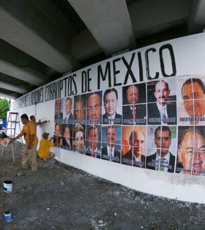 REINSTALAN EL MURO DE LA IGNOMINIA: En abierto desafío al gobierno de Mara Lezama, por tercera ocasión colocan imágenes de políticos mexicanos en el 'Museo de Hampones de Cancún'