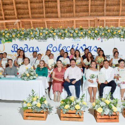 Contraen matrimonio 17 parejas en Tulum