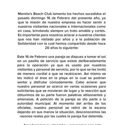 COMUNICADO | Empresario Jorge Marzuca, de playa Mamita's, da su versión y se deslinda de la expulsión violenta de una pareja de turistas por parte de policías turísticos de Playa del Carmen