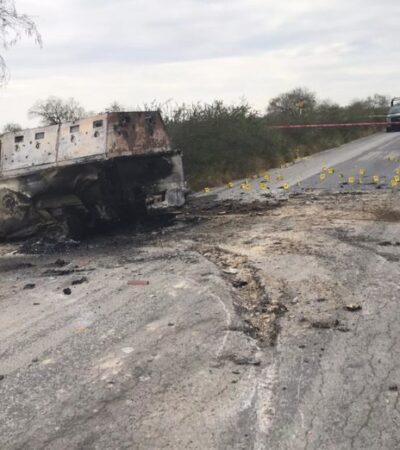 JORNADA VIOLENTA EN NUEVO LEÓN: Abandonan cinco cuerpos calcinados en una camioneta