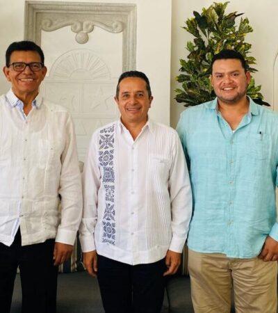 Fernando Valenzuela se reúne con el gobernador Carlos Joaquín en Cancún