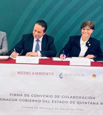 FIRMA DE CONVENIO CON LA CONAGUA: Gestiona Gobernador en CDMX más recursos para obras de agua potable, alcantarillado y saneamiento