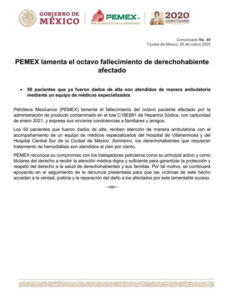 Reportan la muerte del octavo paciente por medicamentos adulterados en hospital de Pemex en Tabasco
