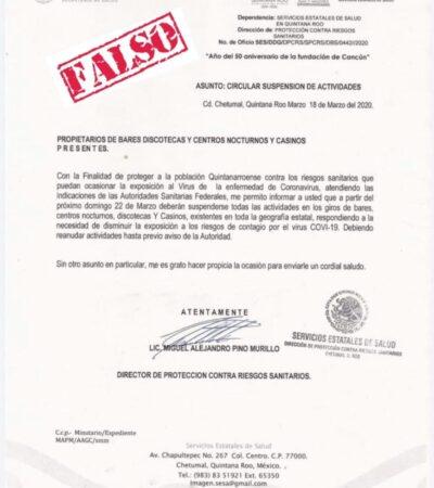 Circula falso decreto de cierre de comercios en Quintana Roo