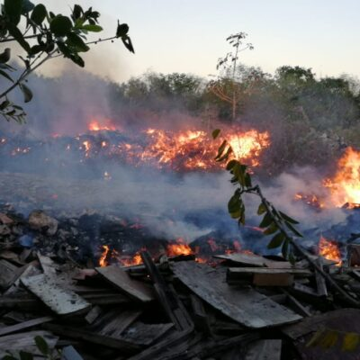 ARDE BASURERO CLANDESTINO EN PLAYA: Incendio amenaza con salirse de control en medio de un área verde entre fraccionamientos