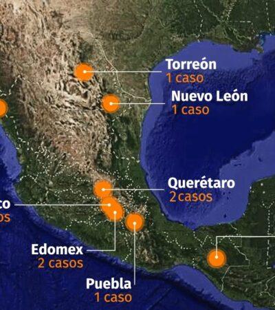 MAPA DE CORONAVIRUS EN MÉXICO: Confirman trece casos y 49 más en observación