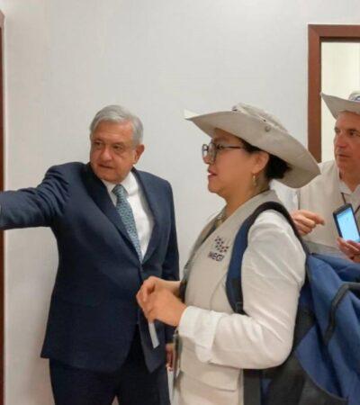 Censa INEGI a Andrés Manuel López Obrador en Palacio Nacional