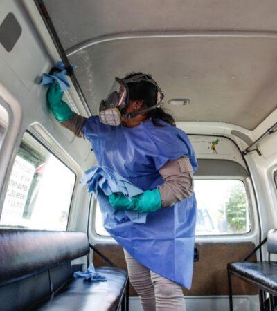 Realizan sanitización de unidades de transporte público en Cozumel