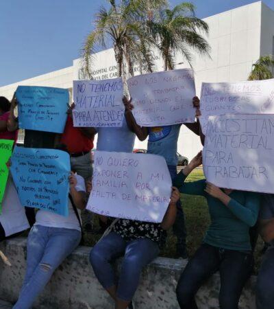 DEMANDAN INSUMOS, EQUIPO Y CAPACITACIÓN: Por segundo día consecutivo, protestan trabajadores de clínica del IMSS en Playa