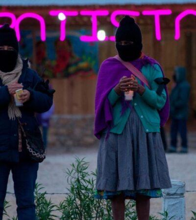 Mujeres del EZLN bajan de la montaña y se suman al paro nacional feminista