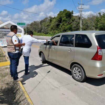 Aplican más de 120 cuestionarios de salud en retenes carreteros en Quintana Roo