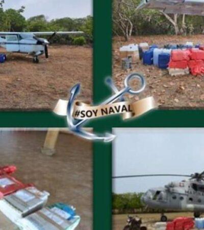 Asegura Semar una avioneta con 358 kilos de cocaína en Chiapas